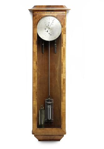 A modern eight day mahogany wall-mounted regulator with gravity escapement