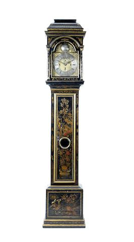 An early 18th century chinoiserie decorated quarter chiming longcase clock