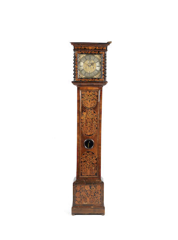 A late 17th century walnut and marquetry inlaid longcase clock