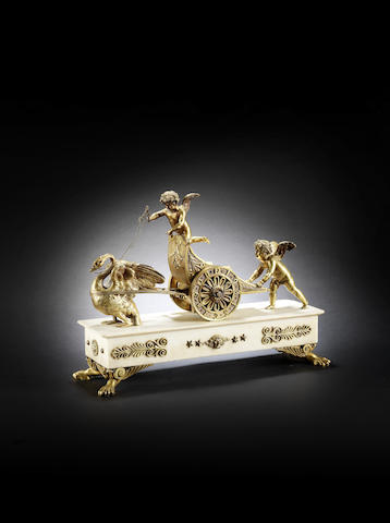 A good and rare early 19th century English ormolu-mounted white marble mantel timepiece