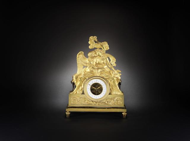 A late 18th century French ormolu mantel clock