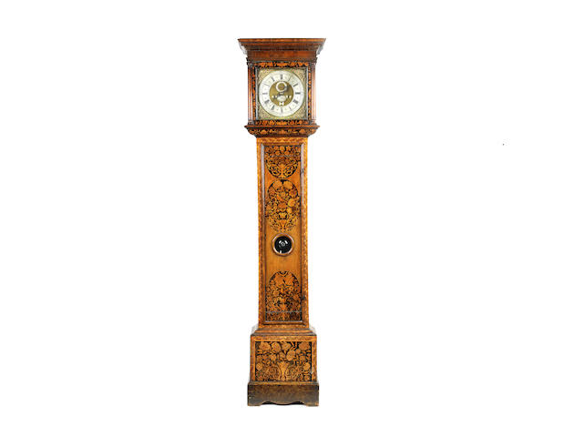 A late 17th century walnut marquetry longcase and associated movement