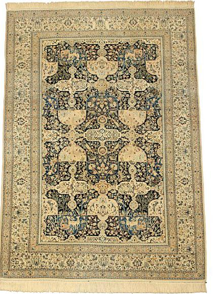 Ali Akbar Nain rug with silk, embellished with wild exotic animals, entwined branches, flowers and foliage on blue base