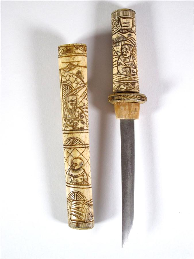 JAPAN short Sabre with scabbard engraved bone, to decoration of characters