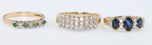 A 9ct gold 27 stone diamond ring size N