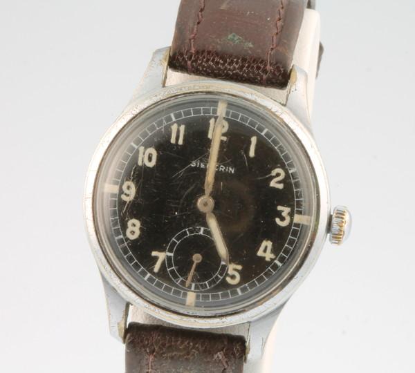 A gentleman's steel cased black dial Siegerin wristwatch