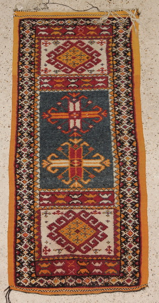 A yellow and blue ground Turkish style runner