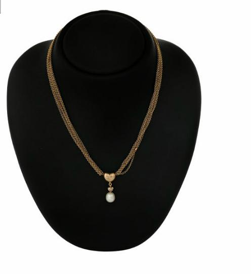 A five-strand necklace with a clasp and key pendant set with eight diamonds and a pearl, mounted in 14k gold