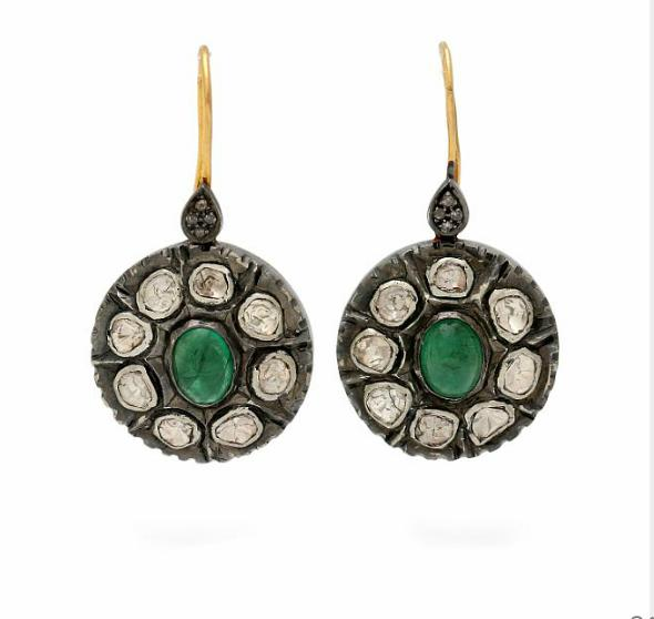 A pair of emerald and diamond ear pendants each set