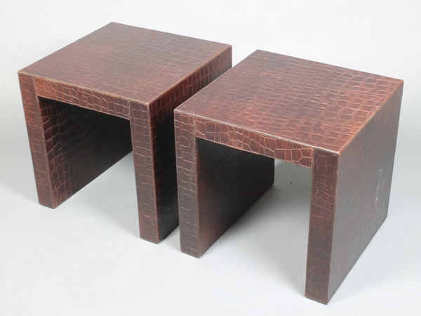 Andrew Martin of Chelsea, a pair of cube shaped side tables with leather crocodile finish