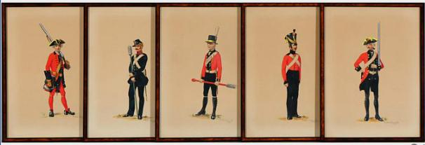 5 framed water colours by Preben Kannik with pictures of Danish uniforms