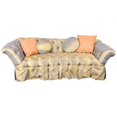 Silk Upholstered Tufted Sofa