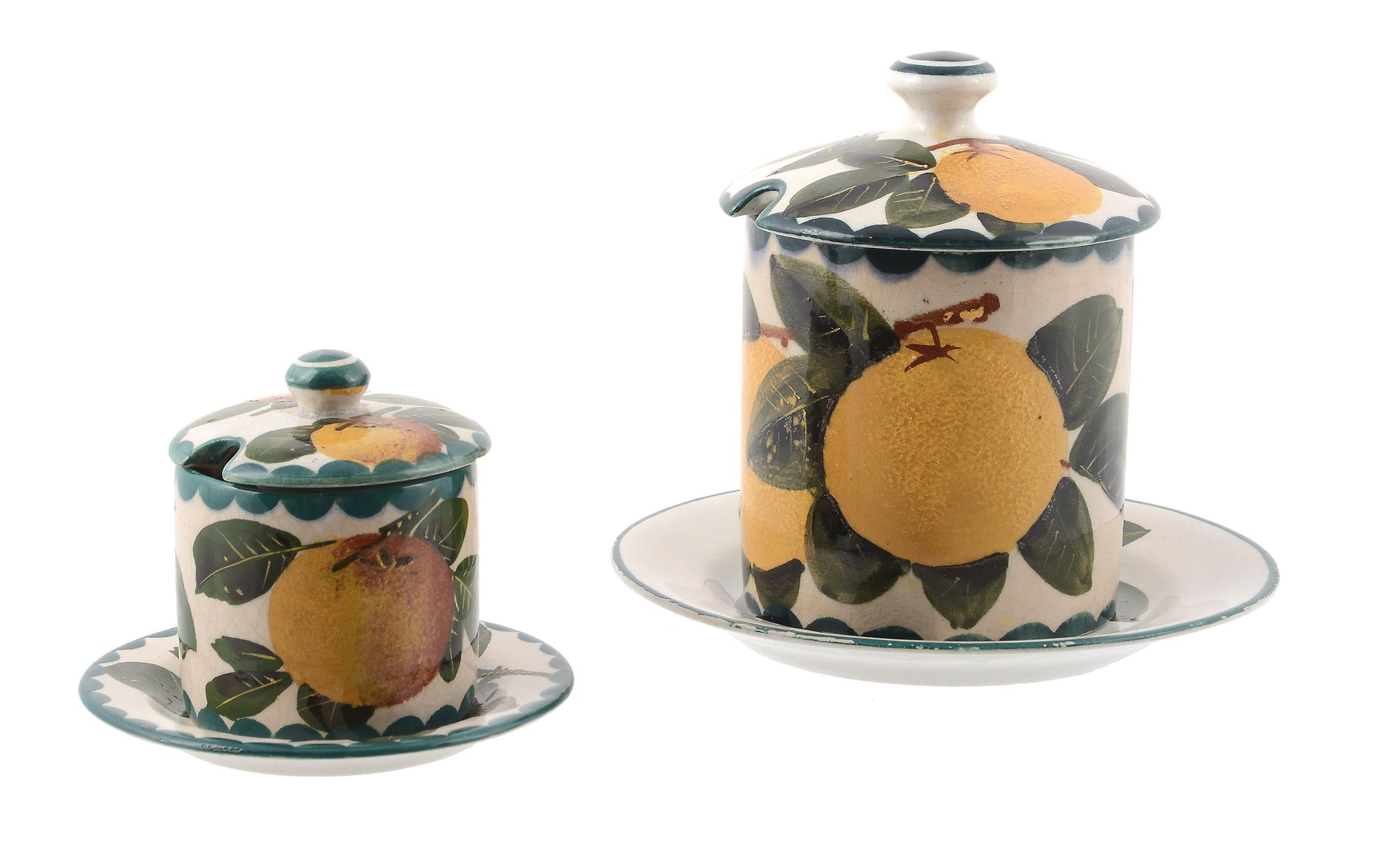A Wemyss preserve jar and cover, circa 1900, pianted with branches or oranges