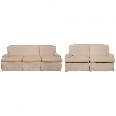 Upholstered Three-Seat Sofa and a Two-Seat Loveseat