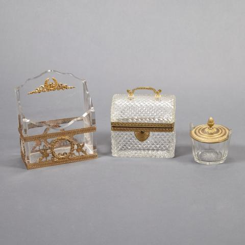 Group of French Gilt-Bronze Mounted and Cut Glass Desk Articles