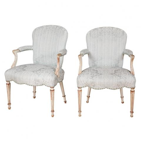 Pair of George III Style Painted Open Armchairs