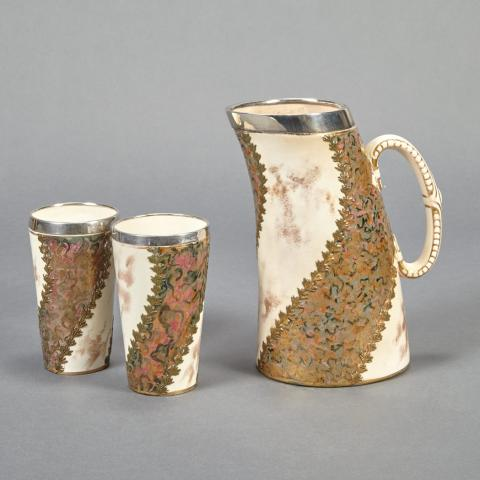 English Creamware Pitcher and Two Silver Mounted Beakers