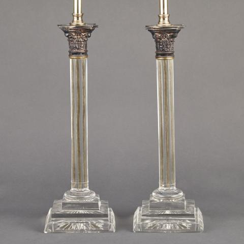 Pair of Gilt-Metal Mounted Glass Lamps