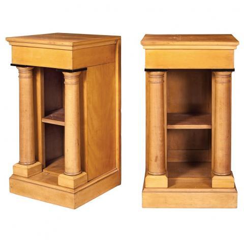 Pair of Biedermeier Style Fruitwood Side Tables
