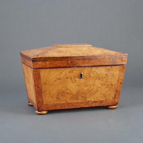 Regency Burr-Elm Tea Caddy