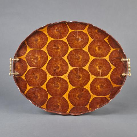 Brass Mounted Olivewood Tray