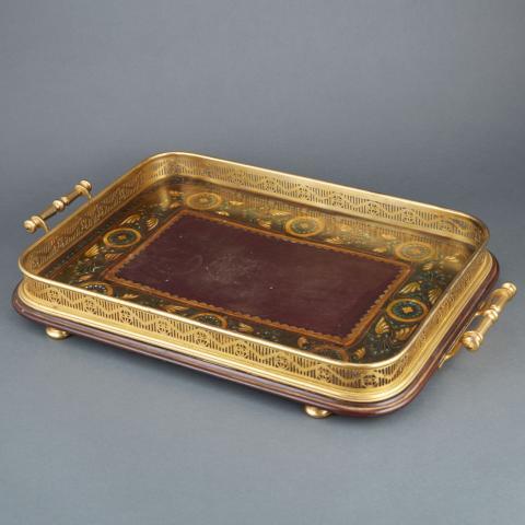 Victorian Papier Mache and Brass Galleried Tray
