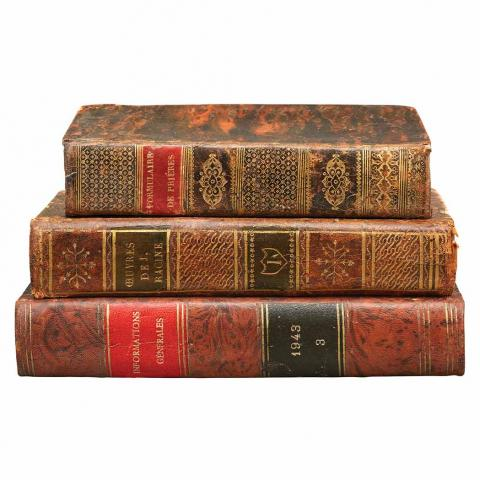 [BINDINGS - ANTIQUE FRENCH] Group of approximately thirty volumes in early French calf