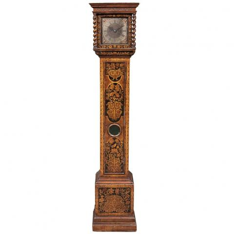 William and Mary Style Seaweed Marquetry, Walnut and Ebony Long Case Clock