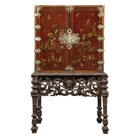 William III Brass Mounted Red Japanned and Parcel Gilt Cabinet on a Silvered Stand