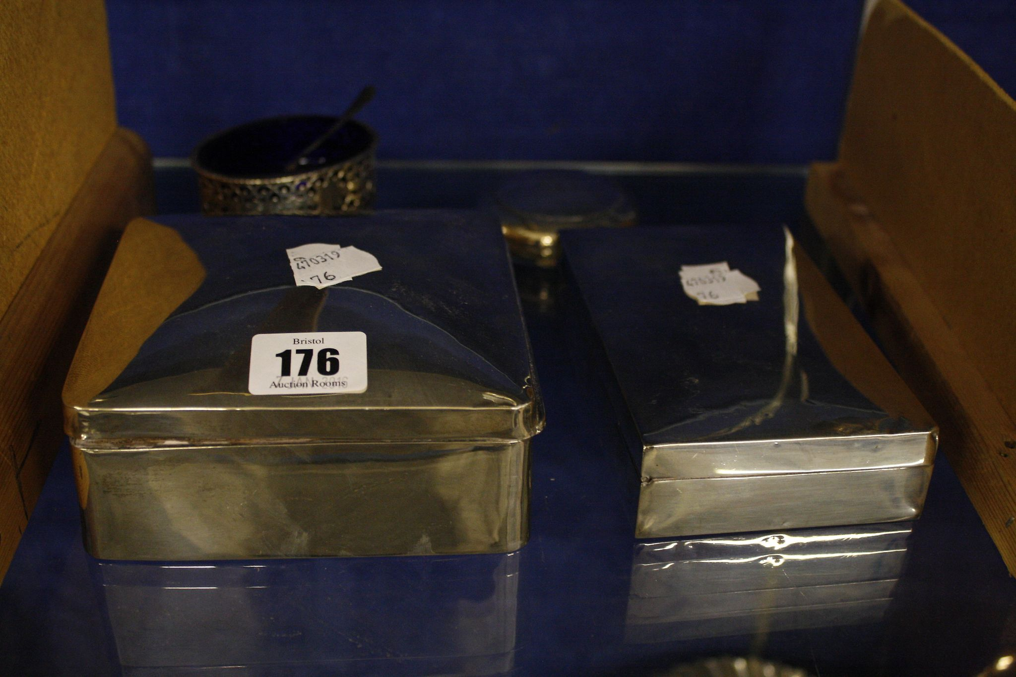 Two silver mounted wood lined cigar boxes