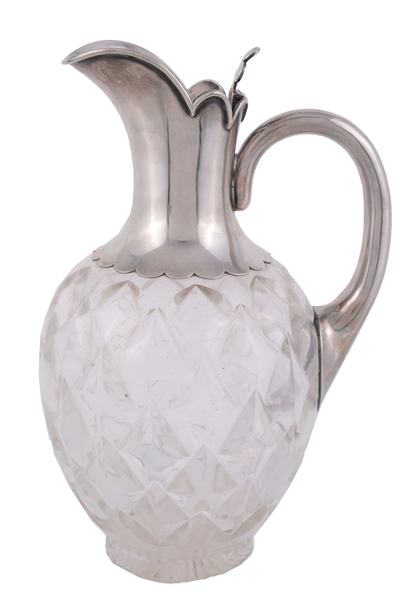 A Victorian claret jug with silver spout and handle