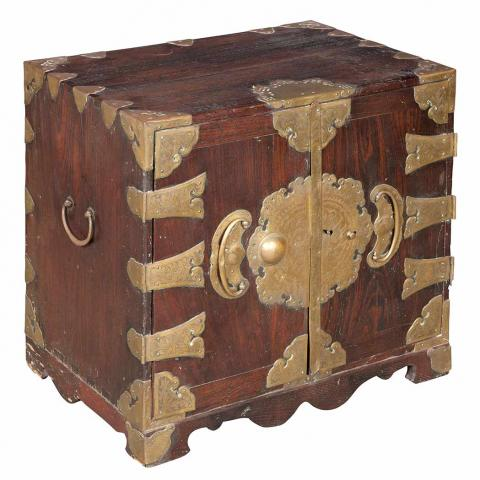 Korean Brass Mounted Softwood Partial Tansu Chest