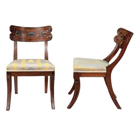 Pair of Regency Mahogany and Part Ebonized Klismos Side Chairs