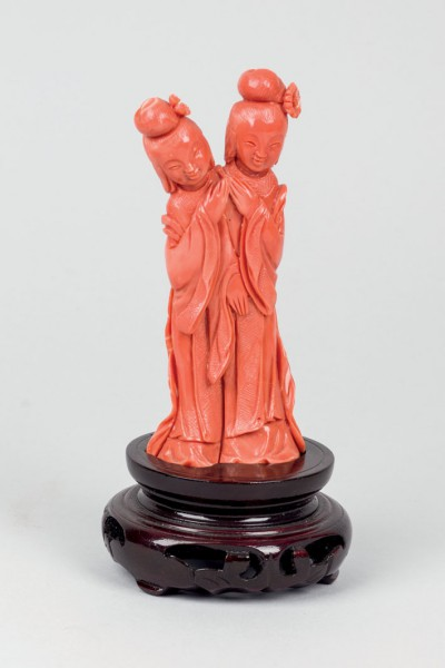 Coral figure depicting two geishas