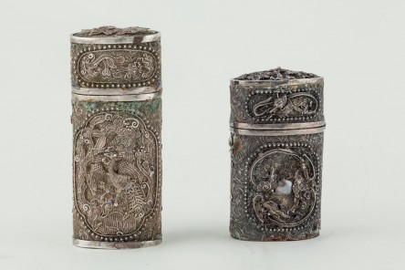 Pair of Chinese jars in silver