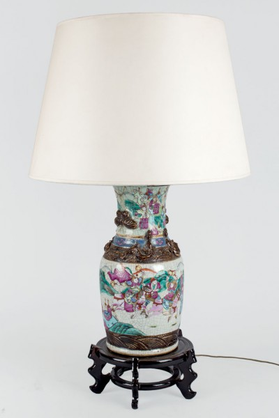 Chinese porcelain vase adapted to lamp