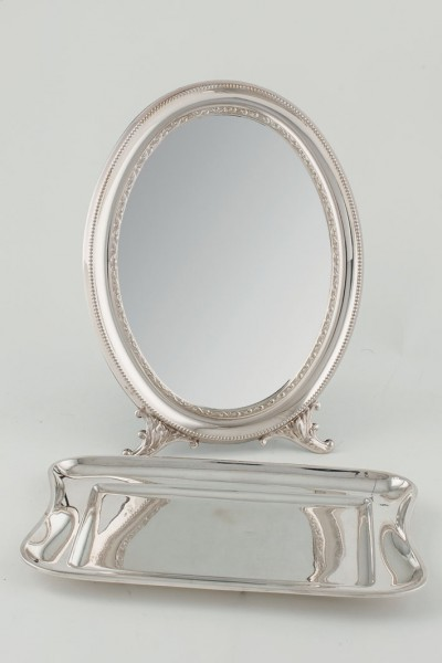 Vanity mirror and tray cards