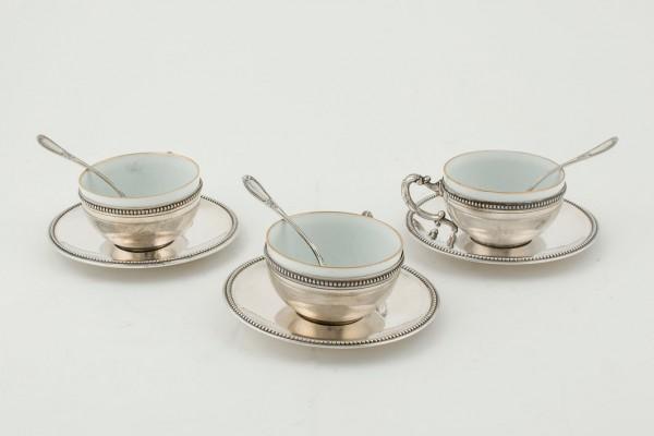 Batch of six silver cups, coffee