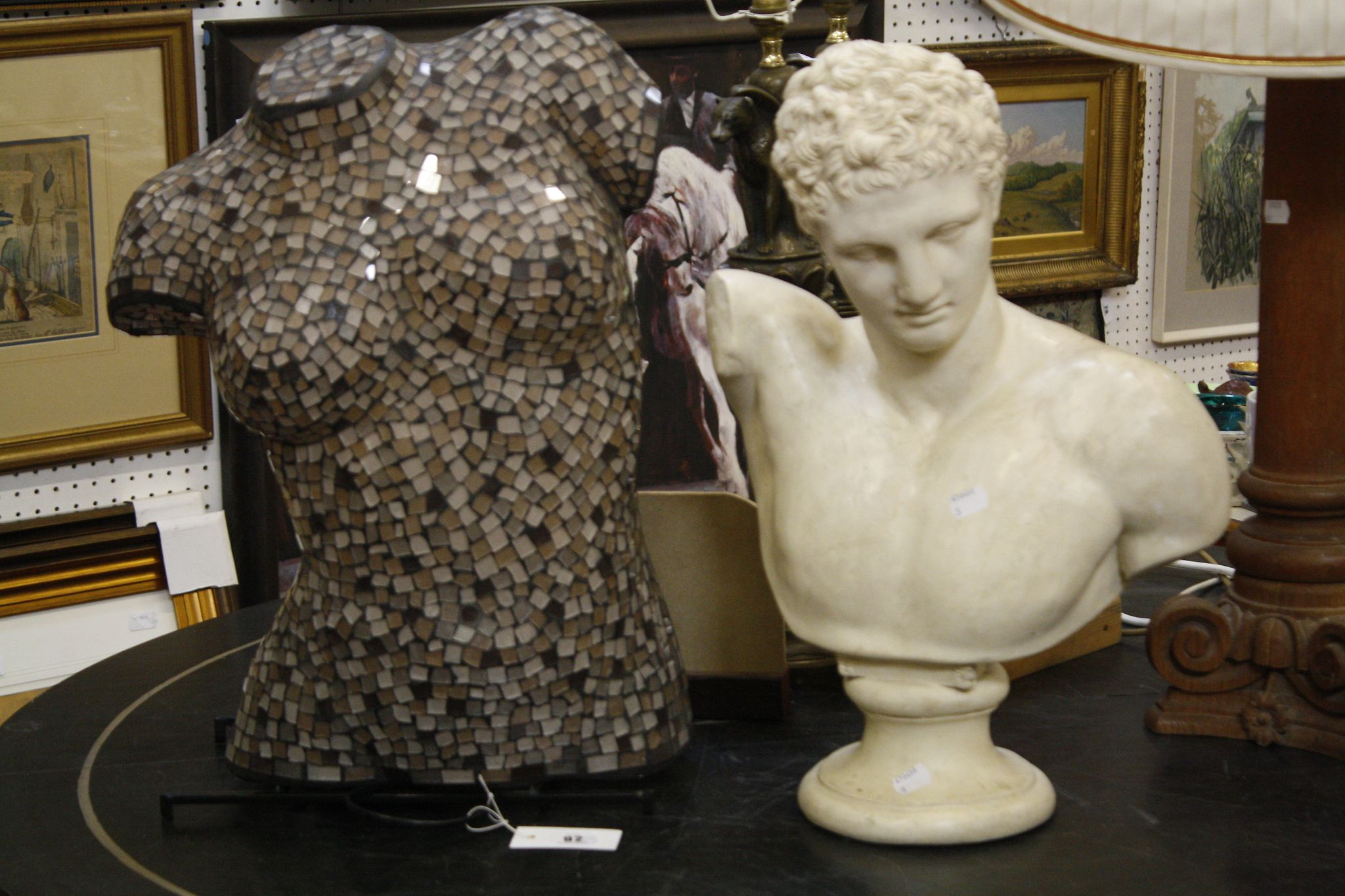 A mosaic bust of a lady table lamp