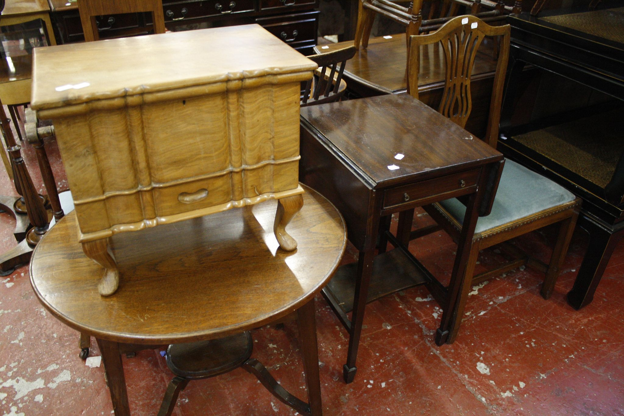Two chairs, walnut sewing box