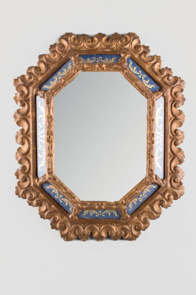 Wall mirror painted wood and glass