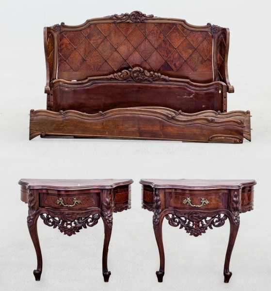 Bed and two nightstands root wood