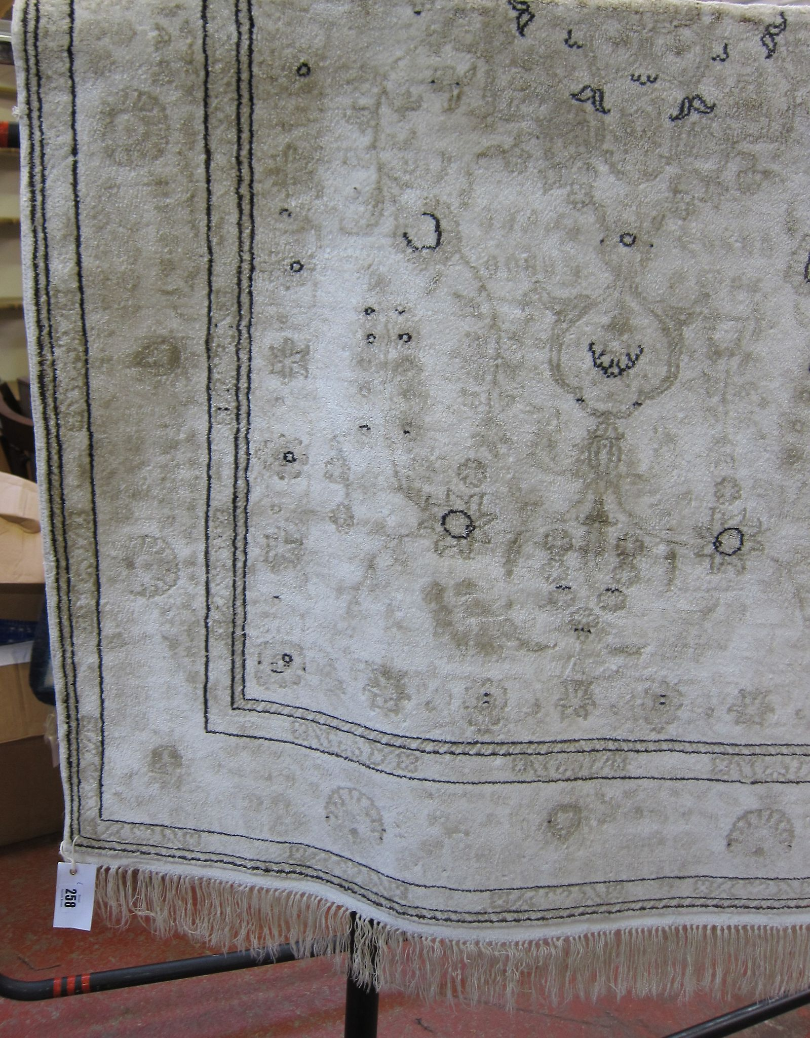 A Tabriz cream silk rug