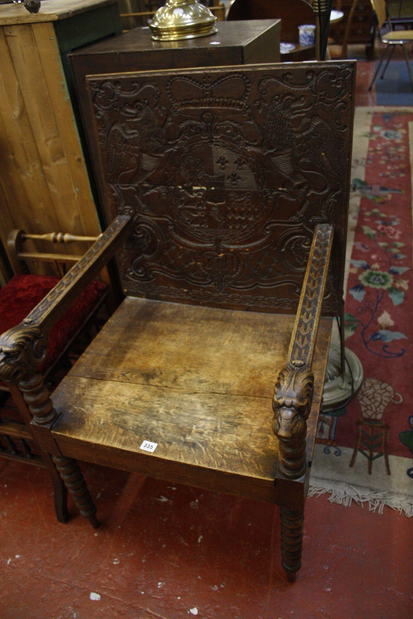 A 19th century oak armchair