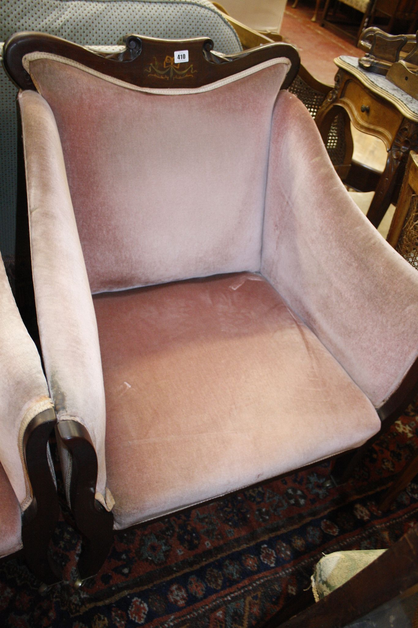 An Edwardian mahogany framed and upholstered suite of seat furnitur
