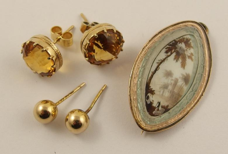A pair of 9ct citrine stud earrings and other items