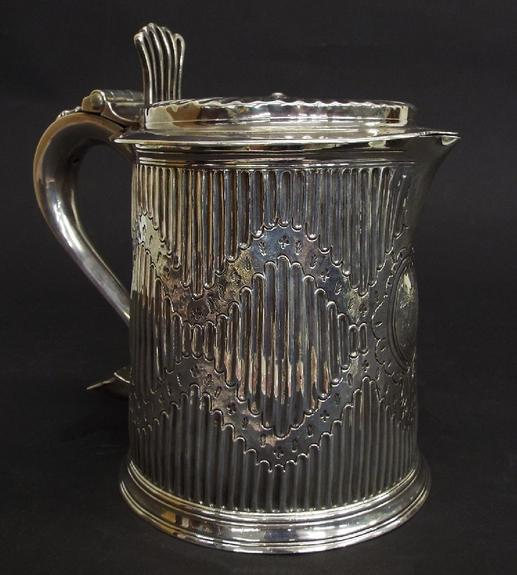Good 18th century silver fluted lidded stein