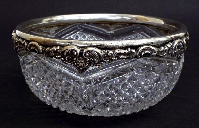 Sterling silver rimmed hobnail-cut glass fruit bowl