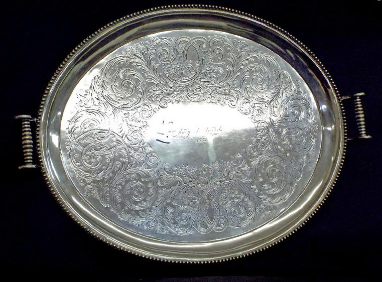 Good large Victorian silver plated twin-handled gallery tray