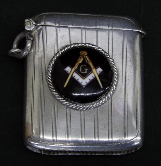 1920s silver vesta case with later applied circular enamel of Masonic interest